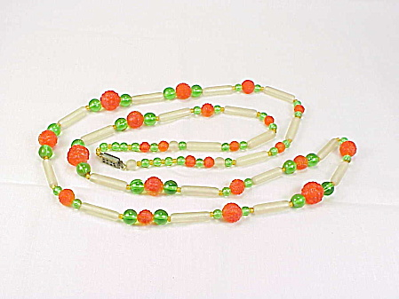 Vintage Art Deco Or Flapper Orange, Green, Frosted Glass Bead Necklace