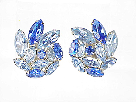 Vintage Dark Cobalt Blue And Light Blue Rhinestone Clip Earrings