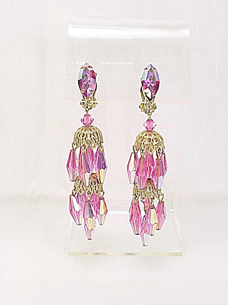 Vintage Lewis Segal Pink Crystal & Rhinestone Chandelier Clip Earrings