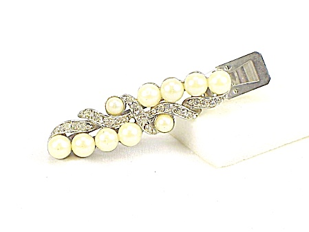 Vintage Rhinestone And Faux Pearl Hair Clip Ornament Signed Lady Ellen