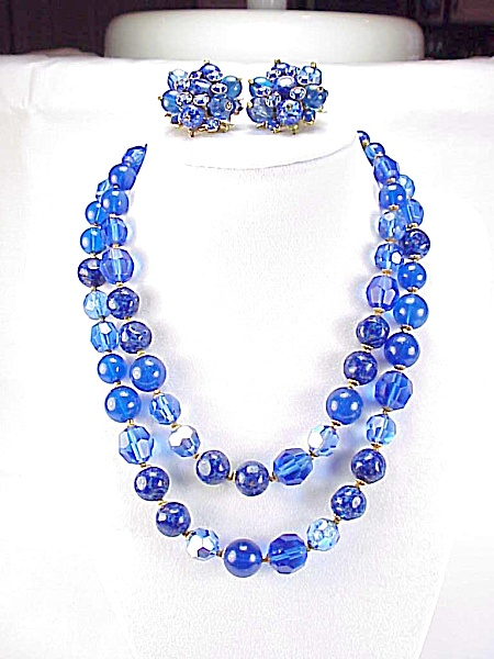Vintage Demario Blue Bead Crystal Rhinestone Necklace And Earrings Set