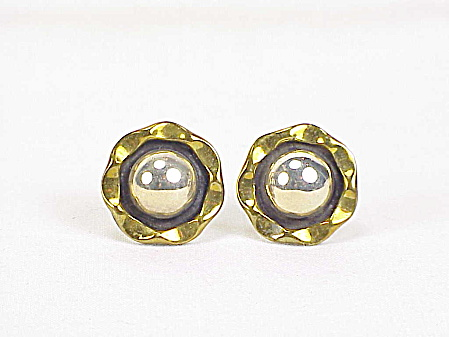 MEXICAN STERLING SILVER AND BRASS PIERCED EARRINGS SIGNED TC-4? (Image1)