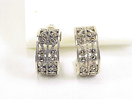 STERLING SILVER FILIGREE AND MARCASITE PIERCED EARRINGS SIGNED GM (Image1)
