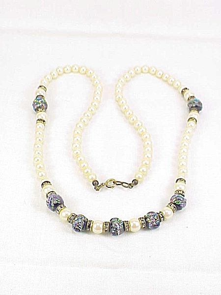 Vintage Foil Art Glass Bead, Rhinestone Rondelle And Pearl Necklace