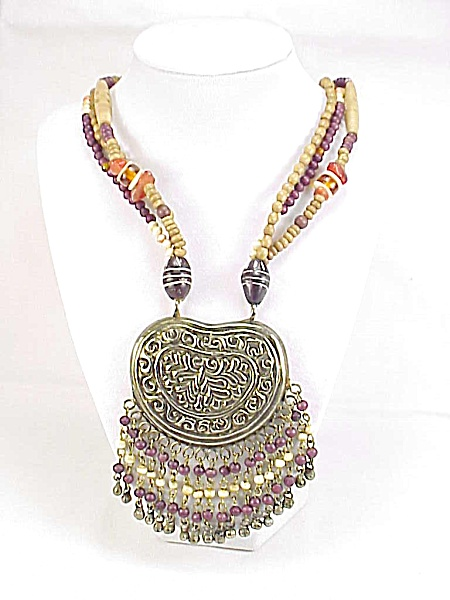 Chunky Tribal Necklace With Large Silver Pendant And Carved Beads