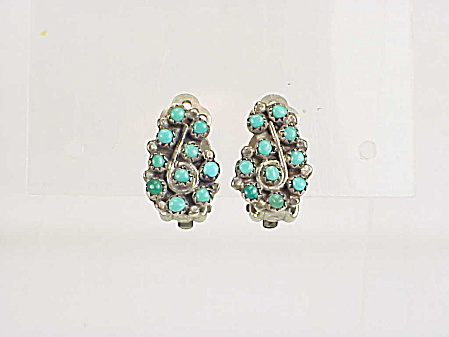 Native American Petit Point Turquoise Sterling Silver Clip Earrings