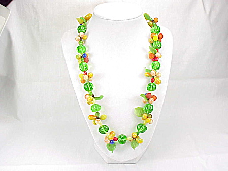 Vintage Fruit Salad Venetian Italian Glass Bead And Leaf Necklace