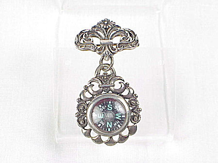 Art Nouveau Sterling Silver Compass Fob Pendant Watch Pin Brooch