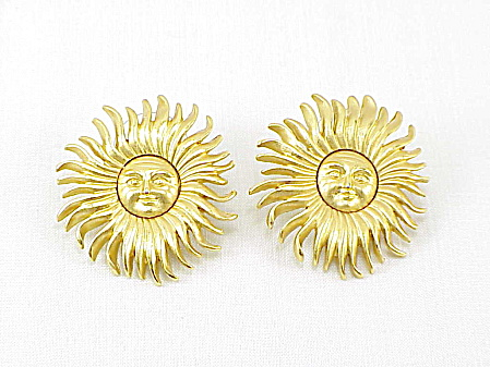 Monet Large Brushed Gold Tone Face In Sun Pierced Earrings