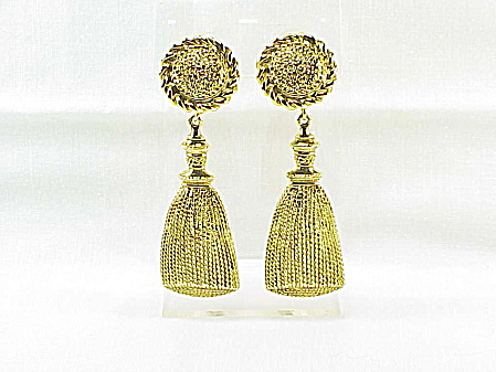 Ivana Trump Big Long Gold Tone Tassel Clip Earrings