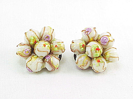 Vintage Signed Italy Venetian Glass Wedding Cake Bead Clip Earrings