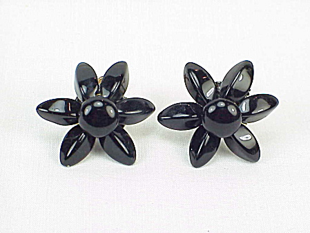 Vintage Black Glass Flower Screw Back Earrings With Moveable Petals