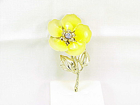 Vintage Tomes Yellow Enamel Tin And Rhinestone Flower Brooch