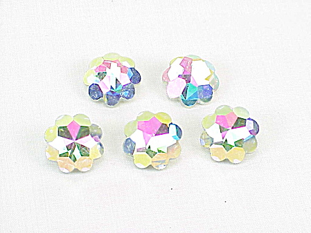 Vintage Aurora Borealis Faceted Glass Shank Buttons