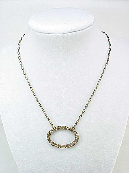 Givenchy Bronze Rhinestone Circle Pendant Choker Necklace