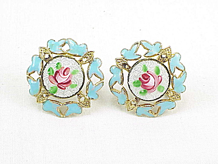 Vintage Pink Rose Guilloche Enamel Screw Back Earrings