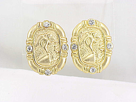 Kneeling Cherub Or Angel Brushed Gold Tone Rhinestone Clip Earrings