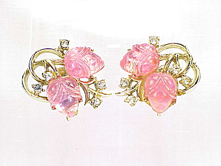 Vintage Coro Pink Carved Lucite Flower And Rhinestone Clip Earrings