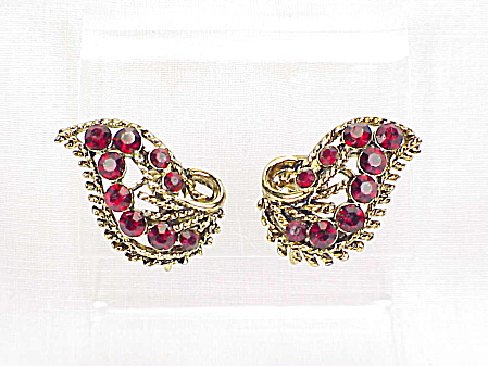 Vintage Weiss Dark Red Rhinestone Clip Earrings