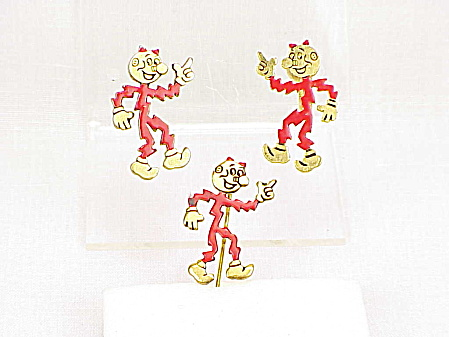 Vintage Reddy Kilowatt Screw Back Earrings And Lapel Pin Brooch