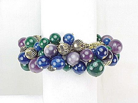 Nicole Miller Purple Blue And Green Dangling Lucite Bead Bracelet