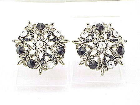 Large Black And Clear Rivoli Rhinestone Silver Tone Clip Earrings