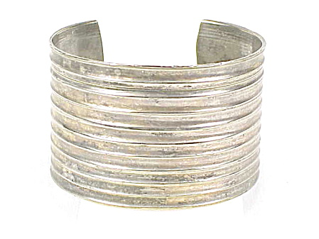 Wide Hand Made Sterling Or Silver Plated Cuff Bracelet With Ridges