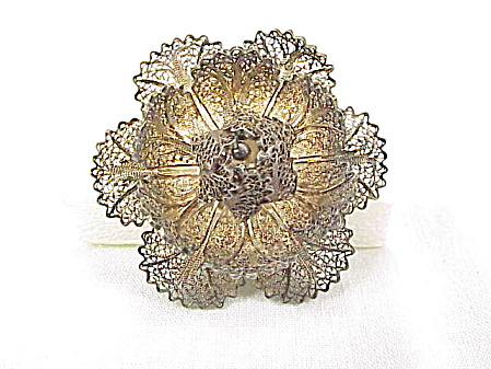 Vintage Sterling Silver Filigree Flower Brooch Signed Portugal
