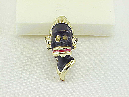 Vintage Blackamoor Enamel Head Brooch With Rhinestone Eyes