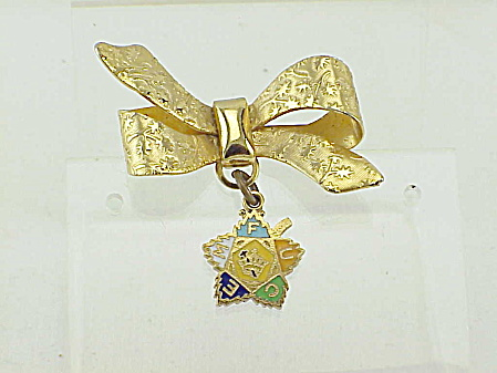 Vintage Bow Brooch With Dangling Fraternal Organization Maple Leaf