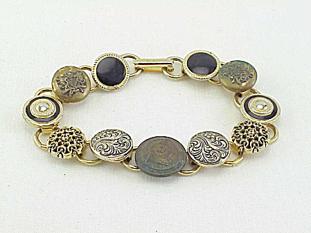 Vintage Bracelet With Button Or Stud Tops