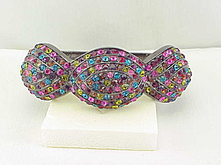 Wide Chunky Multicolored Rhinestone Clamp Bracelet