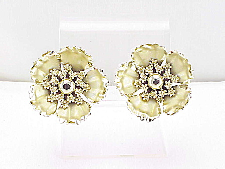 Vintage Coro Large Two Tone Gold Tone Flower Clip Earrings