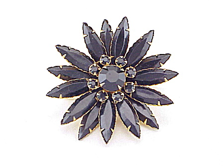 Vintage Black Glass Rhinestone Navette Flower Brooch