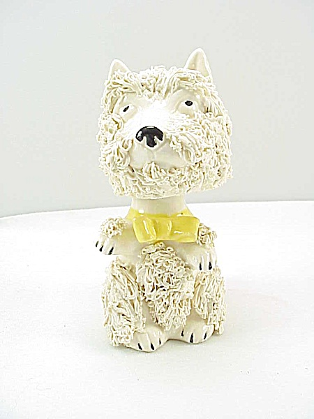 Vintage Japan Bobble Nodder Head Spaghetti Poodle Terrier Dog Figurine