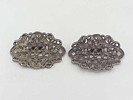 Art Nouveau Flower And Filigree Silver Tone Shoe Clips Shoe Ornaments