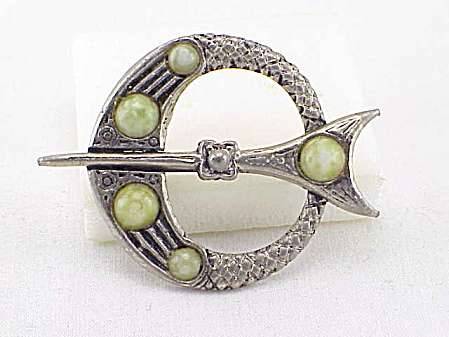 Vintage Celtic Style Kilt Pin With Green Glass Marble Stones Brooch