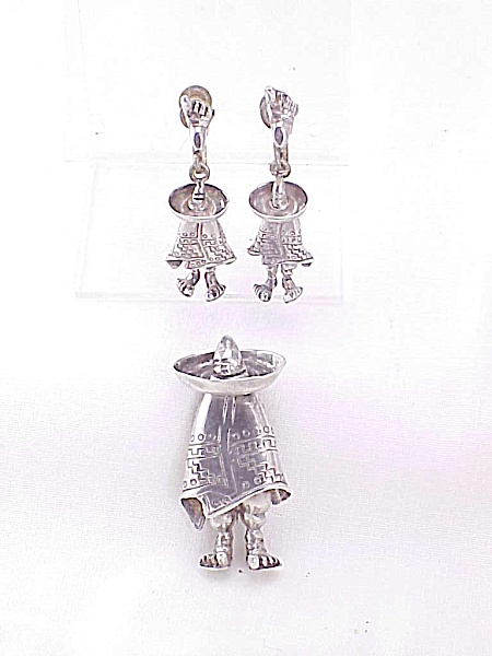 Signed Mexican Sterling Silver Man In Sombrero Brooch And Earrings Set