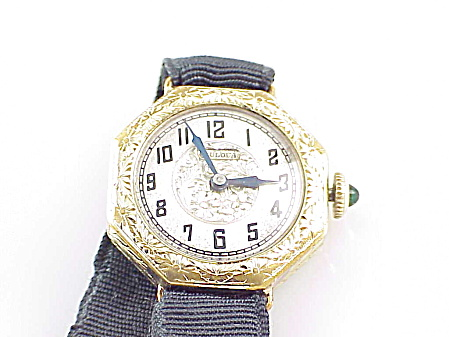 Vintage Art Deco Bulova Swiss Ladies Watch With Silk Ribbon Band Winds