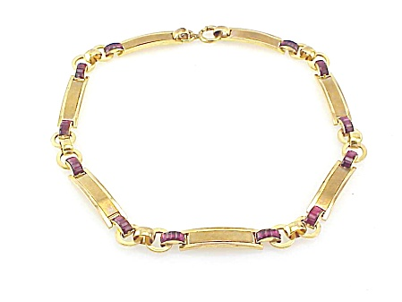 Vintage Art Deco Carved Red Rhinestone Gold Tone Choker Necklace