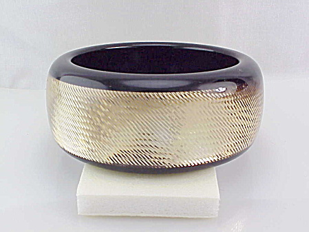 Pono Designer Wide Gold Sparkle Diamond Cut Resin Bangle Bracelet