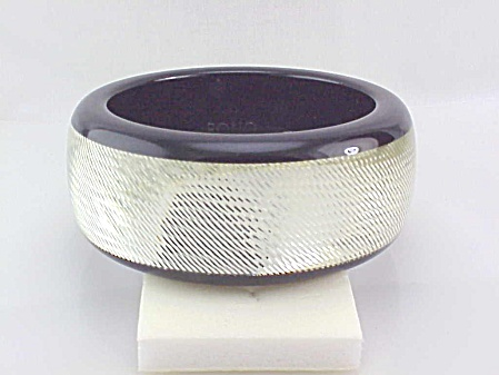 Pono Designer Wide Silver Sparkle Diamond Cut Resin Bangle Bracelet