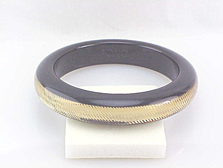 Pono Designer Black Gold Sparkle Diamond Cut Resin Bangle Bracelet