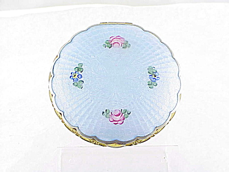 Vintage La Mode Blue Guilloche Enamel With Roses Powder Compact