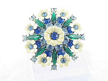 Vintage Large Blue And Green Rhinestone Cream Enamel Flower Brooch