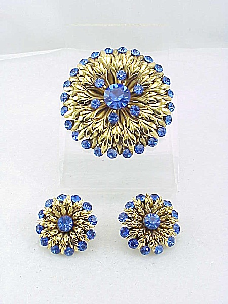 Vintage Cobalt Blue Rhinestone Brooch And Clip Earrings Set