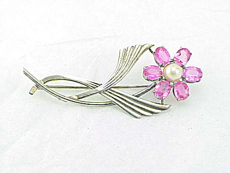 Vintage Sterling Silver Pink Rhinestone And Pearl Flower Brooch