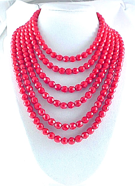Vintage Six Strand Chinese Or Cherry Red Faceted Glass Bead Necklace