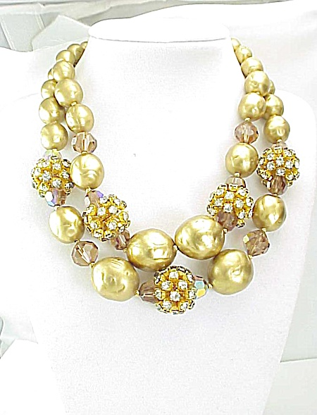 Vintage Rhinestone Starburst Beads, Gold Pearls & Crystal Necklace