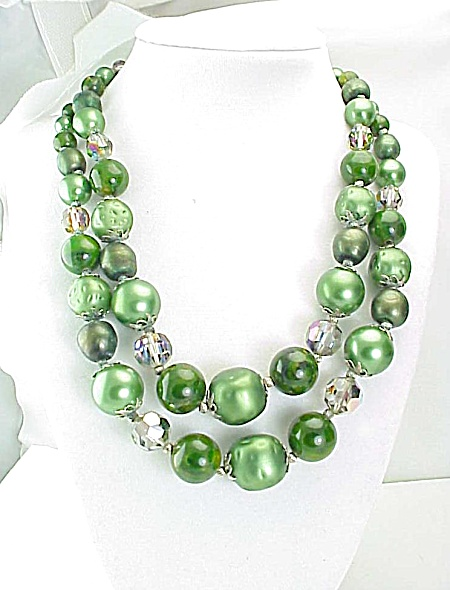 Vintage Vendome 2 Strand Green Glass Bead, Pearl And Crystal Necklace